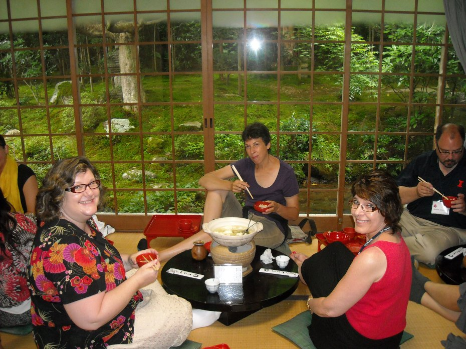 Lisa Gibson, Lisa Tilley, and Kim O'Neil enjoy a Buddhist vegetarian lunch in Kyoto